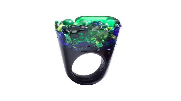 Green Murano Glass Ring