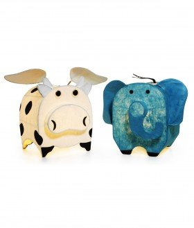 Cow and Elephant Animal Lamps