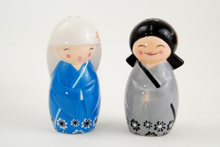 Japanese Kokeshi Girl Dolls Salt & Pepper Shaker Set
