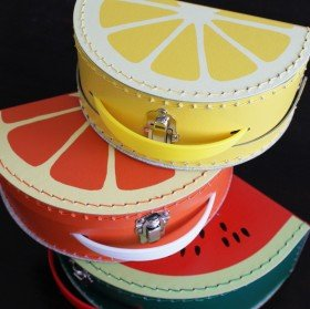 Mixed fruit vintage style suitcases