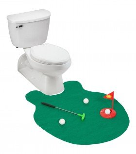 Golf Putter Practice in the Bathroom