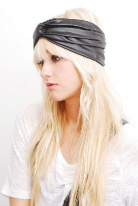 Black Faux Leather Turban