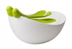 Sparrow Salad Bowl and Serving Spoons