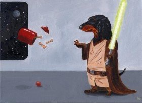 Dachshund Jedi Dog Art Print