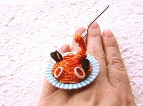 Kawaii Cute Japanese Floating Ring Pasta With Seafood