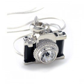 Miniature Black Crystal Camera Pendant