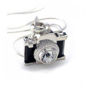 Miniature Black Crystal Camera Pendant