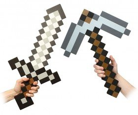 Minecraft Foam Pickaxe and Iron Sword