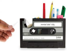 80's Cassette Tape Organizer with a tape dispenser