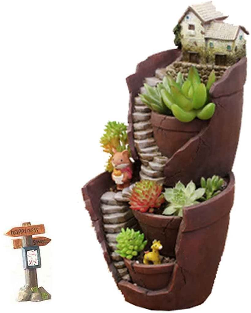 Village Succulent Flower Pot, Stacked Up